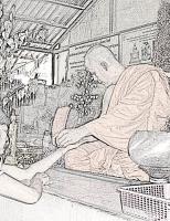 монах повязывает сай син